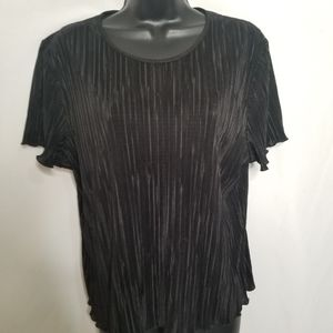 Traditions pleated short sleeve blouse